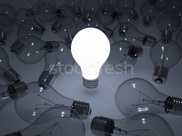 Izzó villanykörte körül nem villanykörték 3d render Stock fotó © cherezoff