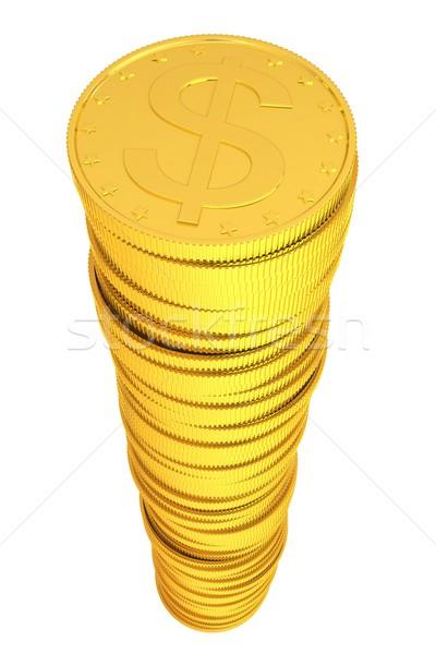 Gouden munten geïsoleerd geven witte business Stockfoto © cherezoff