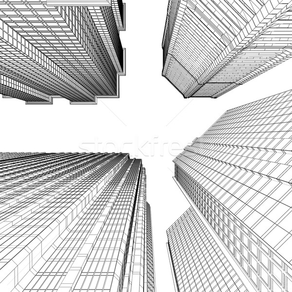 超高層ビル レンダリング 行 孤立した レンダー 白 ストックフォト © cherezoff