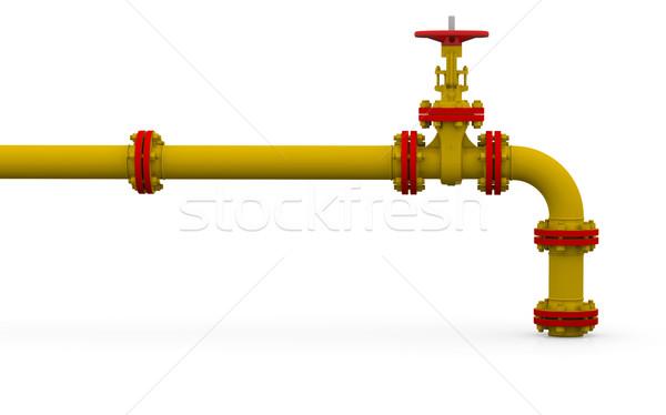 Yellow pipe and valve Stock photo © cherezoff
