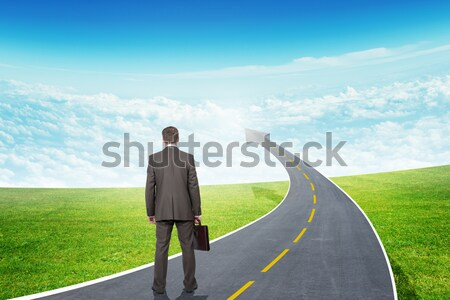 Businessman and fork in the road Stock photo © cherezoff