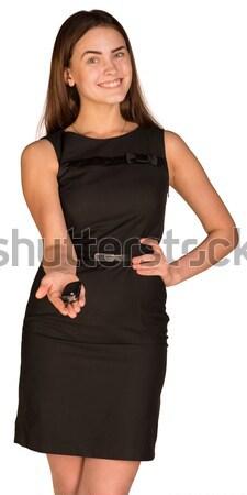 Mujer de negocios puntos mano adelante aislado blanco Foto stock © cherezoff