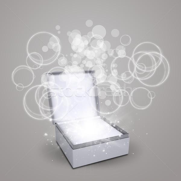 ékszerek doboz varázslatos körök fény sötét Stock fotó © cherezoff