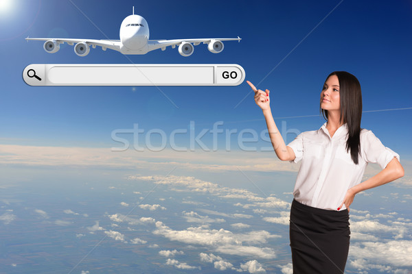 Businesswoman and search string. Passenger airplane as backdrop Stock photo © cherezoff