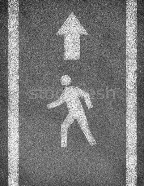 Stock photo: Asphalt road texture with two line and pedestrian sign