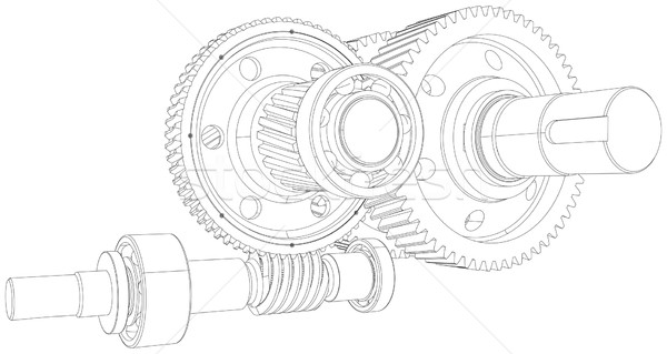 Wire-frame gears with shafts. Close-up. Vector Stock photo © cherezoff