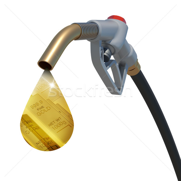 Gold bars in the drop weeping from hose tube Stock photo © cherezoff