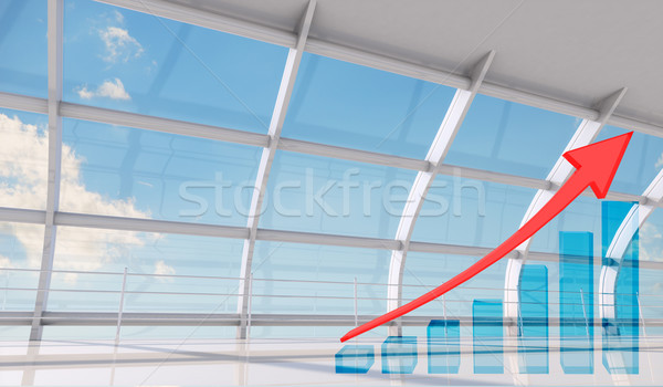 Graphical chart with red arrow rising up Stock photo © cherezoff