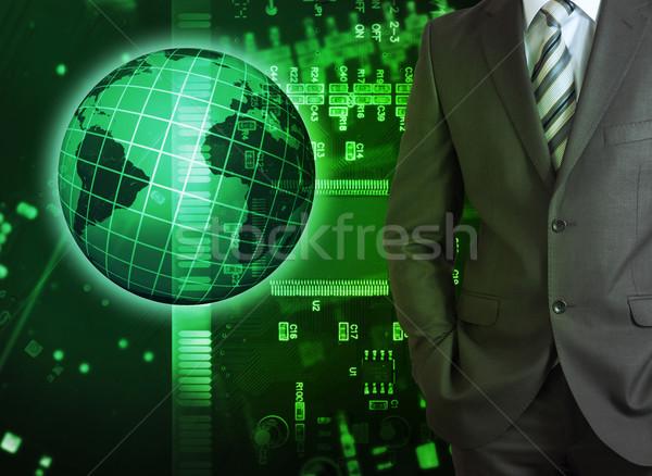 Işadamı soyut yeşil matris dünya model Stok fotoğraf © cherezoff