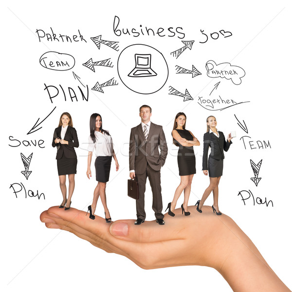 Business people in humans hand with plan Stock photo © cherezoff