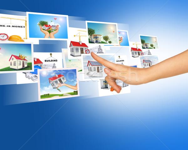 Kar megérint kék holografikus képek absztrakt Stock fotó © cherezoff