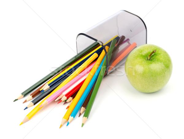 Ceruza csésze zsírkréták zöld alma izolált Stock fotó © cherezoff
