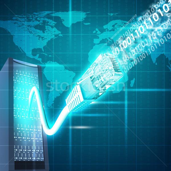 Streszczenie kabel komputerowy mapie świata świat Zdjęcia stock © cherezoff