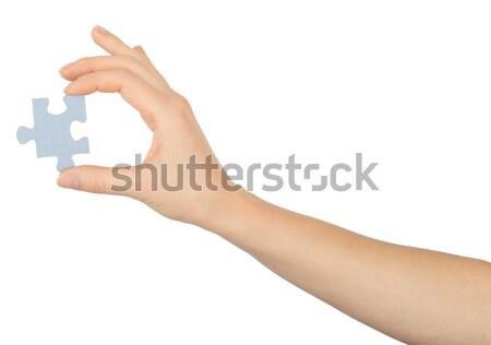 Mão quebra-cabeça peça isolado branco Foto stock © cherezoff