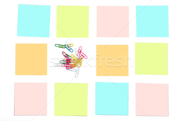 Paper clips with stickers Stock photo © cherezoff