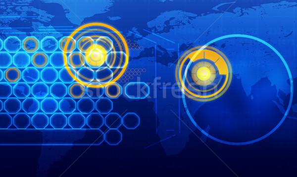 Holografikus képernyő világtérkép körök kék technológia Stock fotó © cherezoff