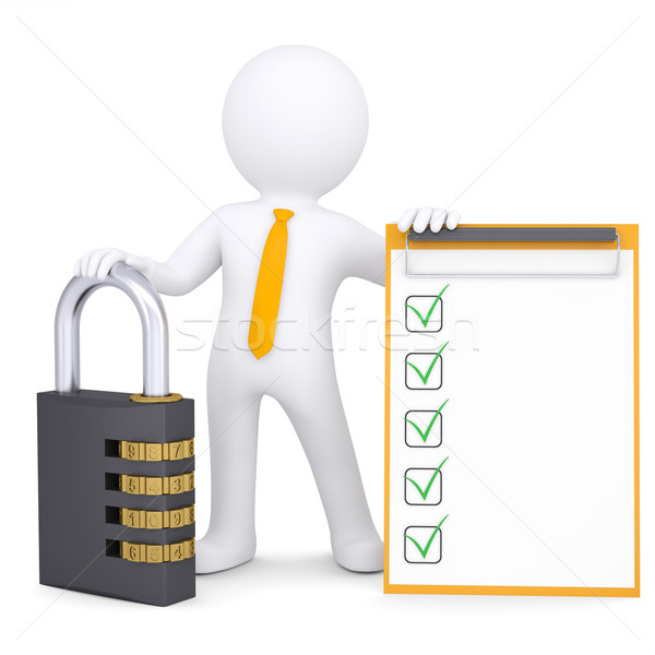 3d white man with combination lock and checklist Stock photo © cherezoff