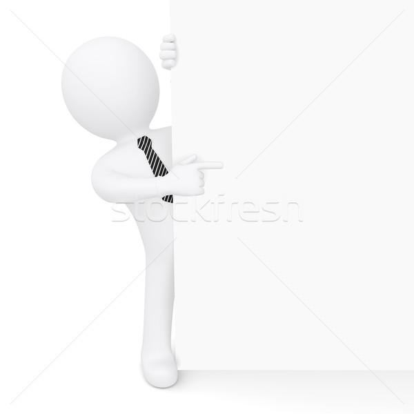 Fehér férfi külső fehér fal pontok ujj Stock fotó © cherezoff