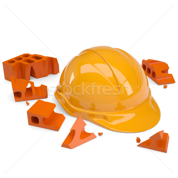 Brick crashed on a helmet Stock photo © cherezoff