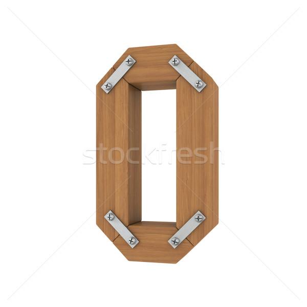 Fából készült o betű izolált render fehér iroda Stock fotó © cherezoff