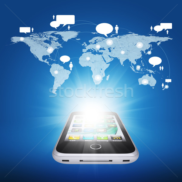 Smartphone and world map with contacts Stock photo © cherezoff