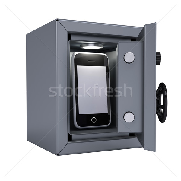 Smartphone in an open metal safe Stock photo © cherezoff