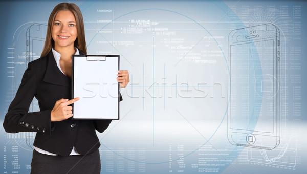 Femme d'affaires papier graphiques main résumé Photo stock © cherezoff