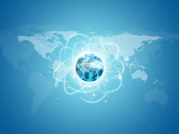 Earth with world map and network lines Stock photo © cherezoff