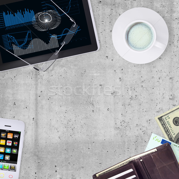 Tablet PC, smartphone, cup of coffee and wallet Stock photo © cherezoff
