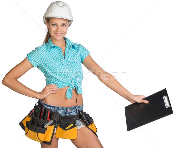 Nő védősisak szerszám öv tart vágólap Stock fotó © cherezoff