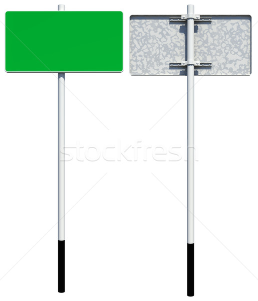 Rectangle green road sign. Front and back view. Isolated  Stock photo © cherezoff