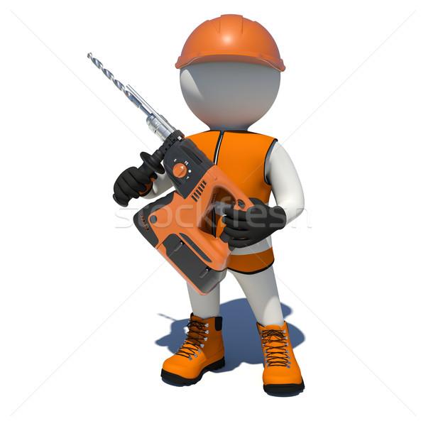 Lavoratore gilet scarpe casco elettrici Foto d'archivio © cherezoff
