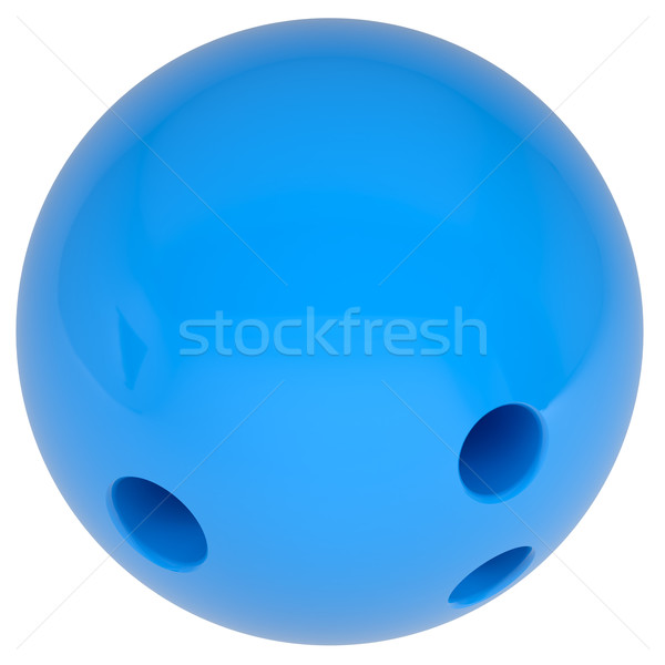 Bowlingkugel blau isoliert weiß Spiel Bowling Stock foto © cherezoff
