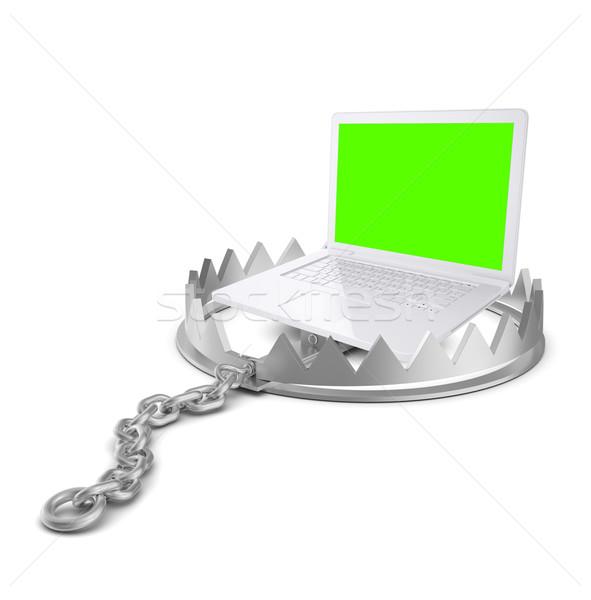 Laptop tragen Trap isoliert weiß Stock foto © cherezoff