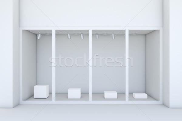 Windows biały sklepu fasada 3D Zdjęcia stock © cherezoff