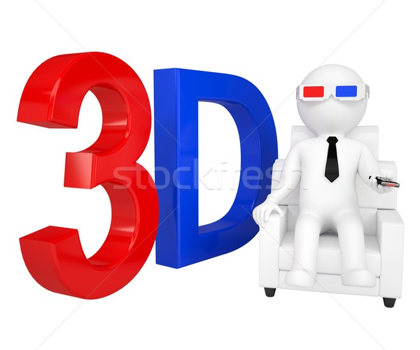 3d man in stereo glasses on a chair Stock photo © cherezoff