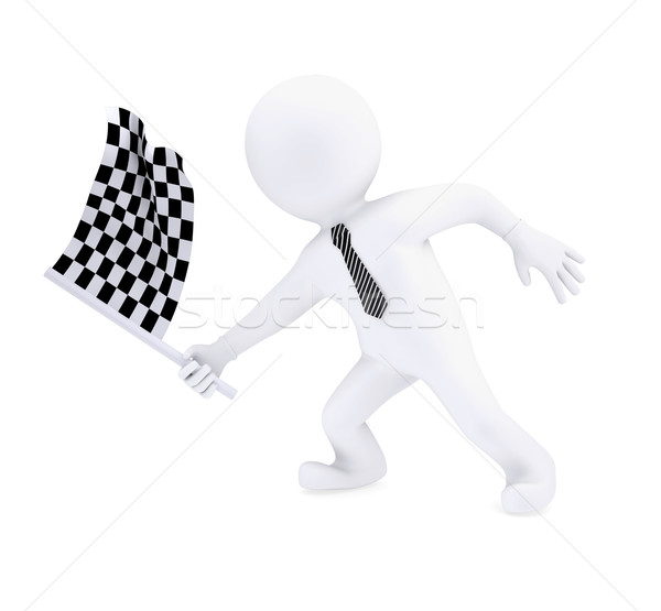 3d human waving the flag at the start of sports Stock photo © cherezoff