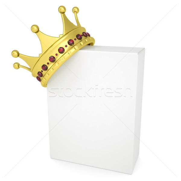 Coroa branco caixa isolado tornar livro Foto stock © cherezoff