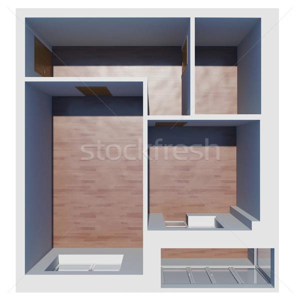 Stock fotó: 3D · lakás · terv · izolált · render · fehér