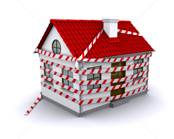 enmeshed in small house warning tape Stock photo © cherezoff
