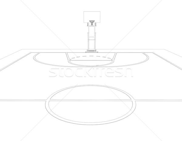 баскетбольная площадка проволоки кадр 3d визуализации изолированный черный Сток-фото © cherezoff