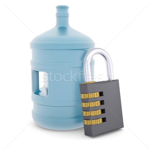 Une bouteille d'eau serrure à combinaison rendu 3d isolé blanche affaires Photo stock © cherezoff