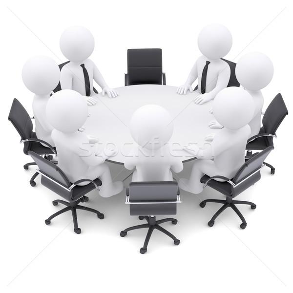 Stock fotó: 3d · emberek · asztal · egy · szék · üres · 3D