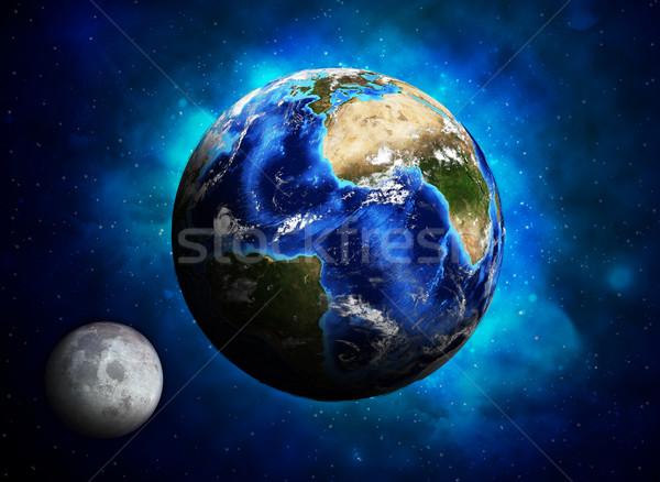 ストックフォト: 地球 · 惑星 · 月 · 要素 · 画像 · 空