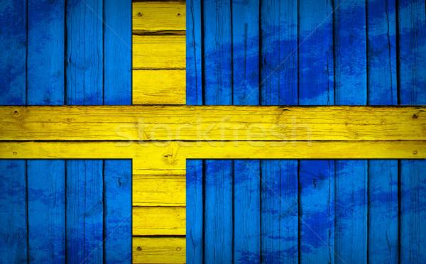 Швеция флаг окрашенный Гранж стиль Сток-фото © cherezoff