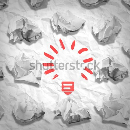 Bulb made of paper and crumpled wads Stock photo © cherezoff