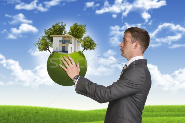 Stockfoto: Zakenman · houden · aarde · klein · huis · bomen