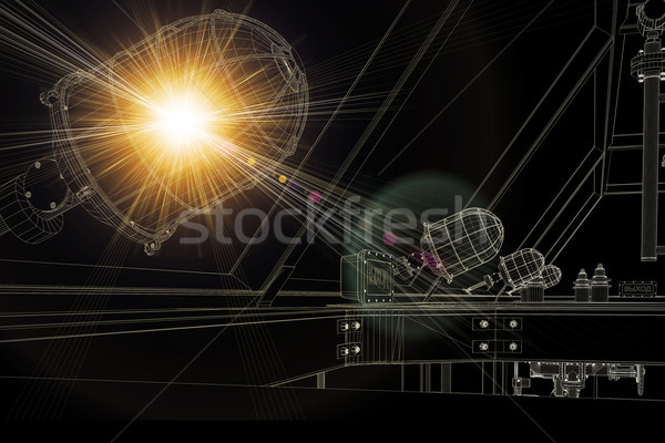Wire-frame industrial equipment. Bright light from lamp. Dark background Stock photo © cherezoff