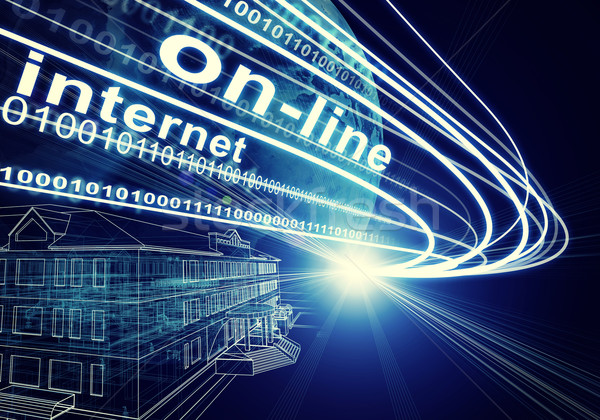 Earth, Wire-frame building, light beams, digits and words on-line, internet on dark background Stock photo © cherezoff