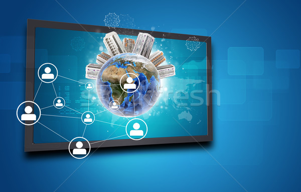 Touchscreen display and Globe with buildings on top, network of person icons Stock photo © cherezoff